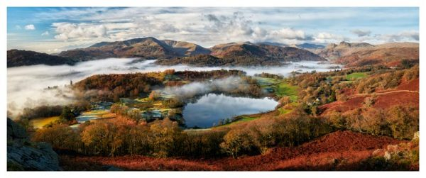 Loughrigg Tarn and Langdale Panorama - Lake District Poster