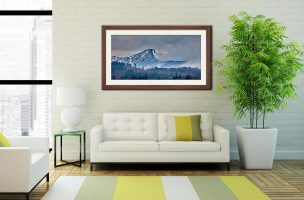 Snowy Grisedale Pike- Framed Print with Mount on Wall