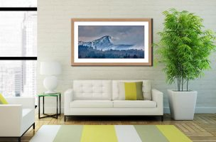 Snowy Grisedale Pike - Framed Print with Mount on Wall