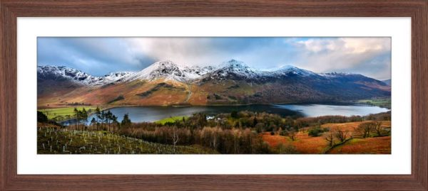Buttermere Winter Panorama - Framed Print with Mount