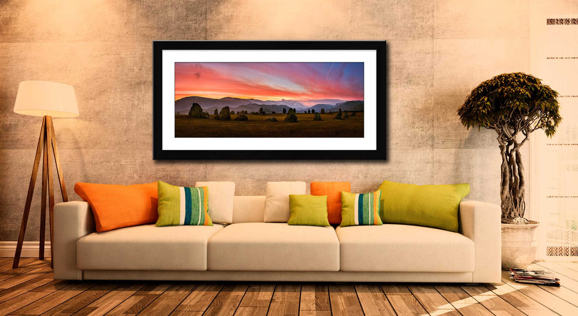 Dawn Skies Over Castlerigg - Framed Print with Mount on Wall