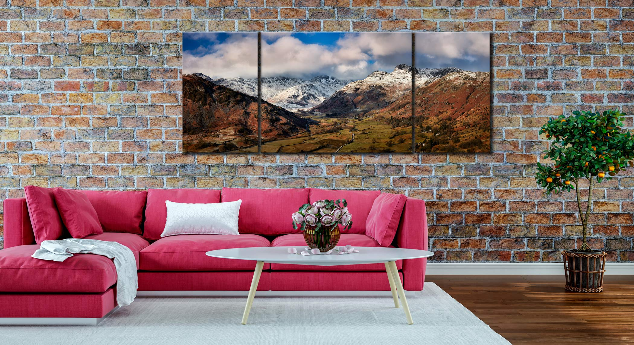 Langdale Valley Winter Panorama - 3 Panel Wide Mid Canvas on Wall