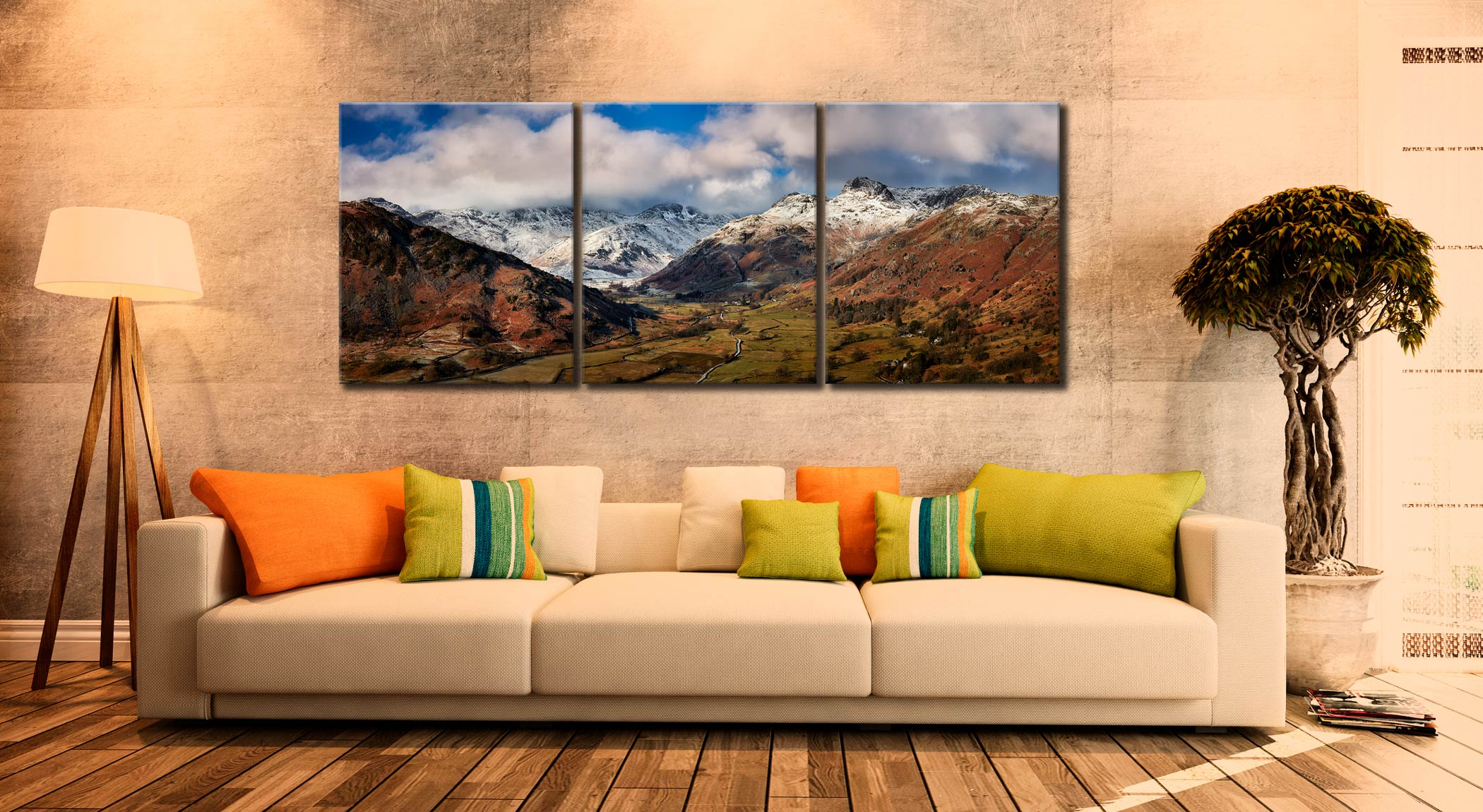 Langdale Valley Winter Panorama - 3 Panel Canvas on Wall