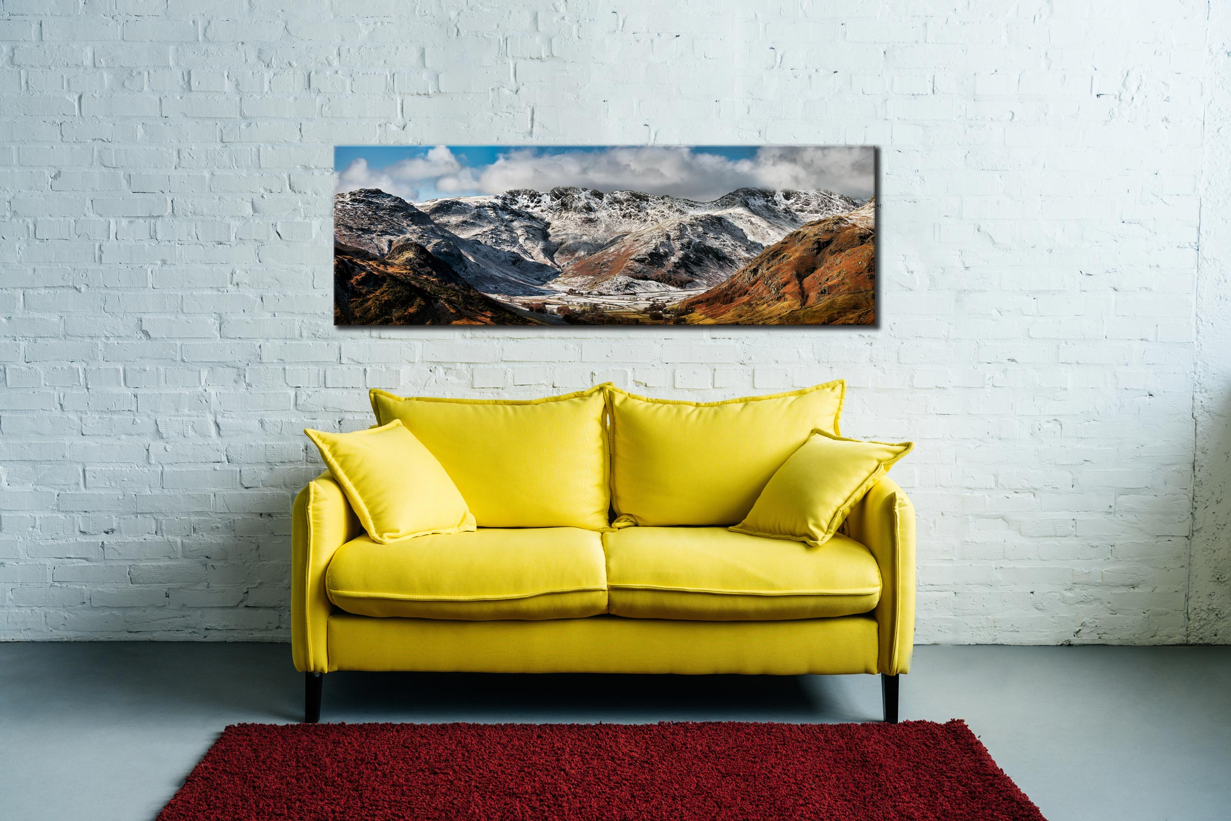 Snow on Crinckle Crags and Bow Fell - Canvas Print on Wall