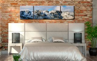 Crinkle Crags Winter Panorama - 3 Panel Wide Centre Canvas on Wall