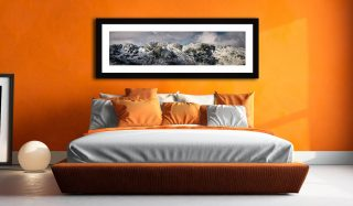 Crinkle Crags Winter Panorama - Framed Print with Mount on Wall