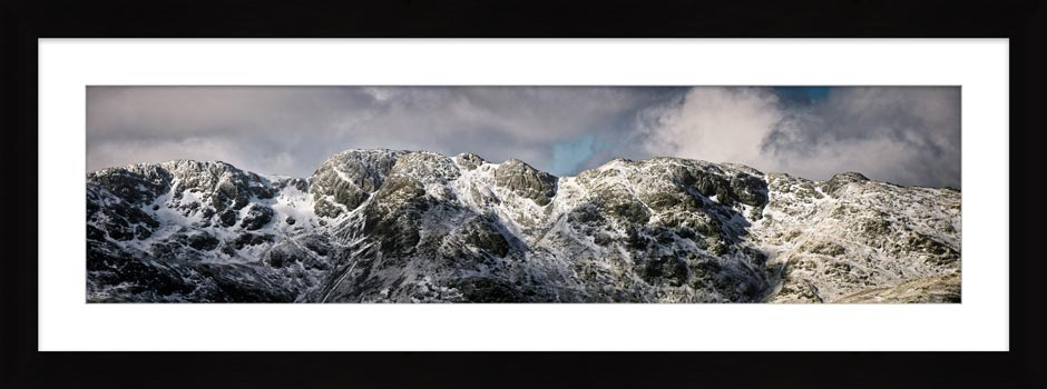 Crinkle Crags Winter Panorama - Framed Print with Mount