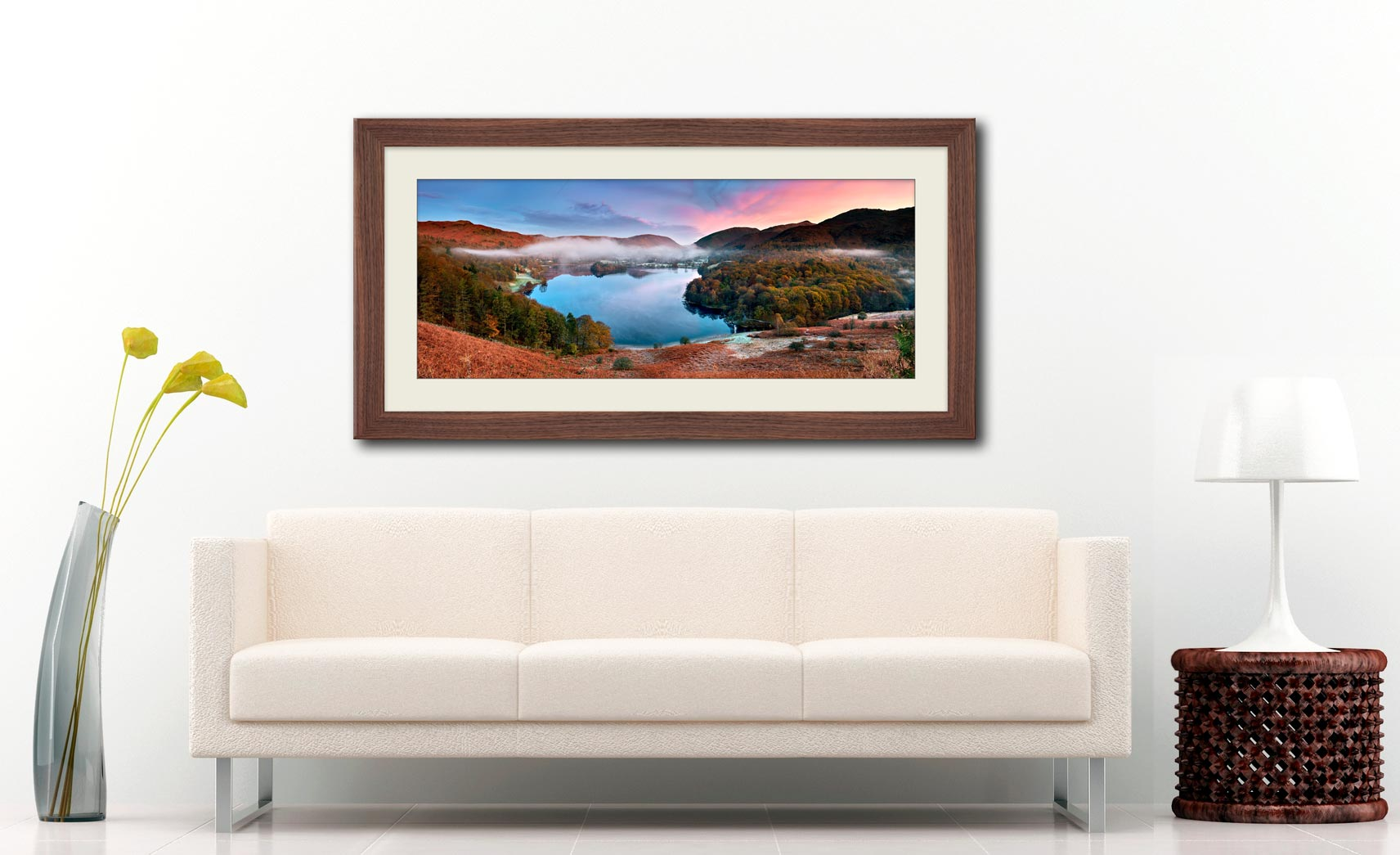 Dawn Colours of Grasmere - Framed Print with Mount on Wall