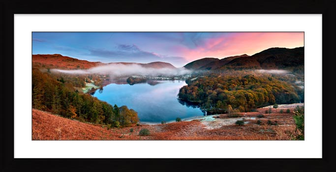 Dawn Colours of Grasmere - Framed Print with Mount