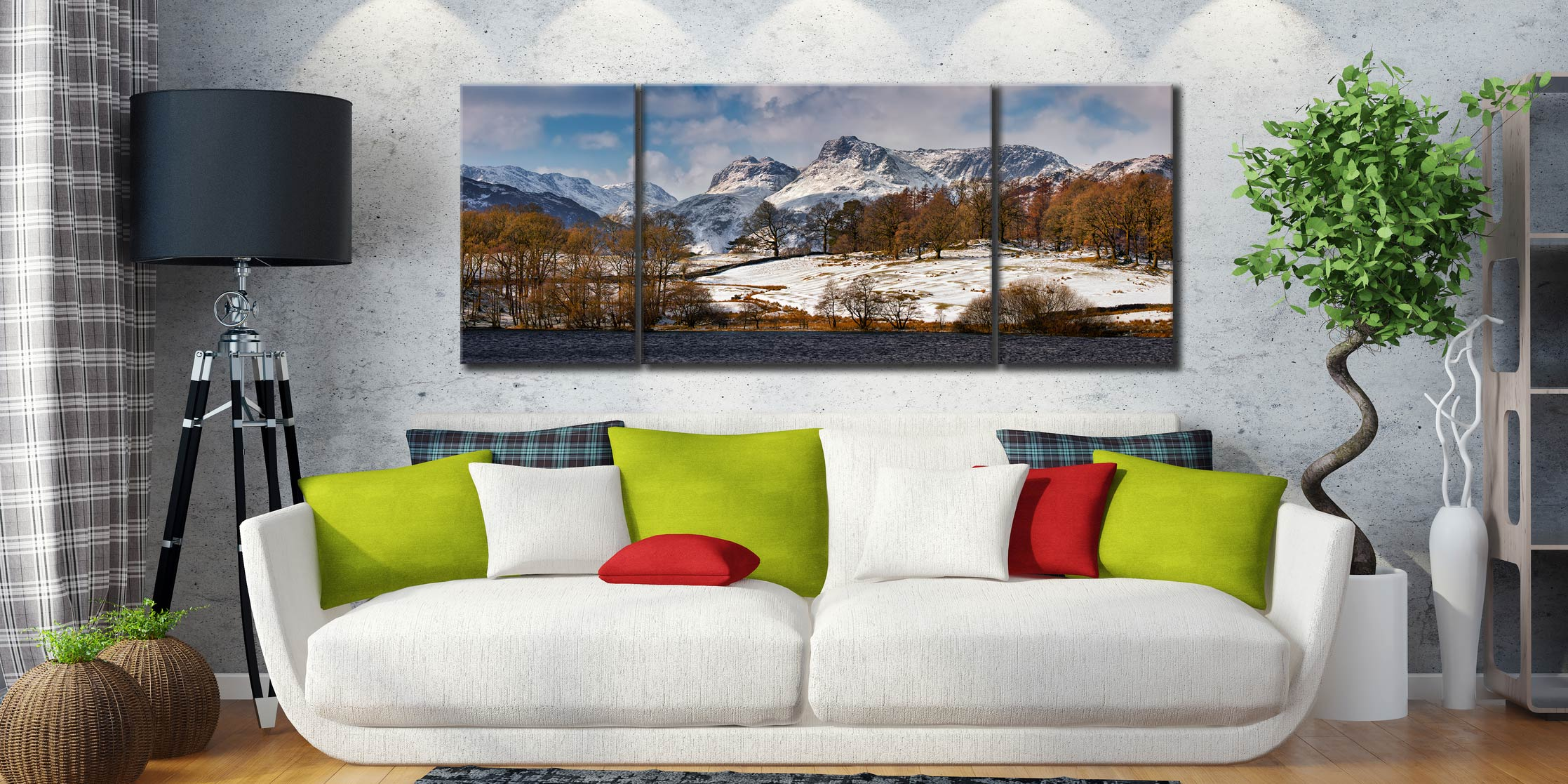 Loughrigg Tarn Winter View  - 3 Panel Wide Mid Canvas on Wall