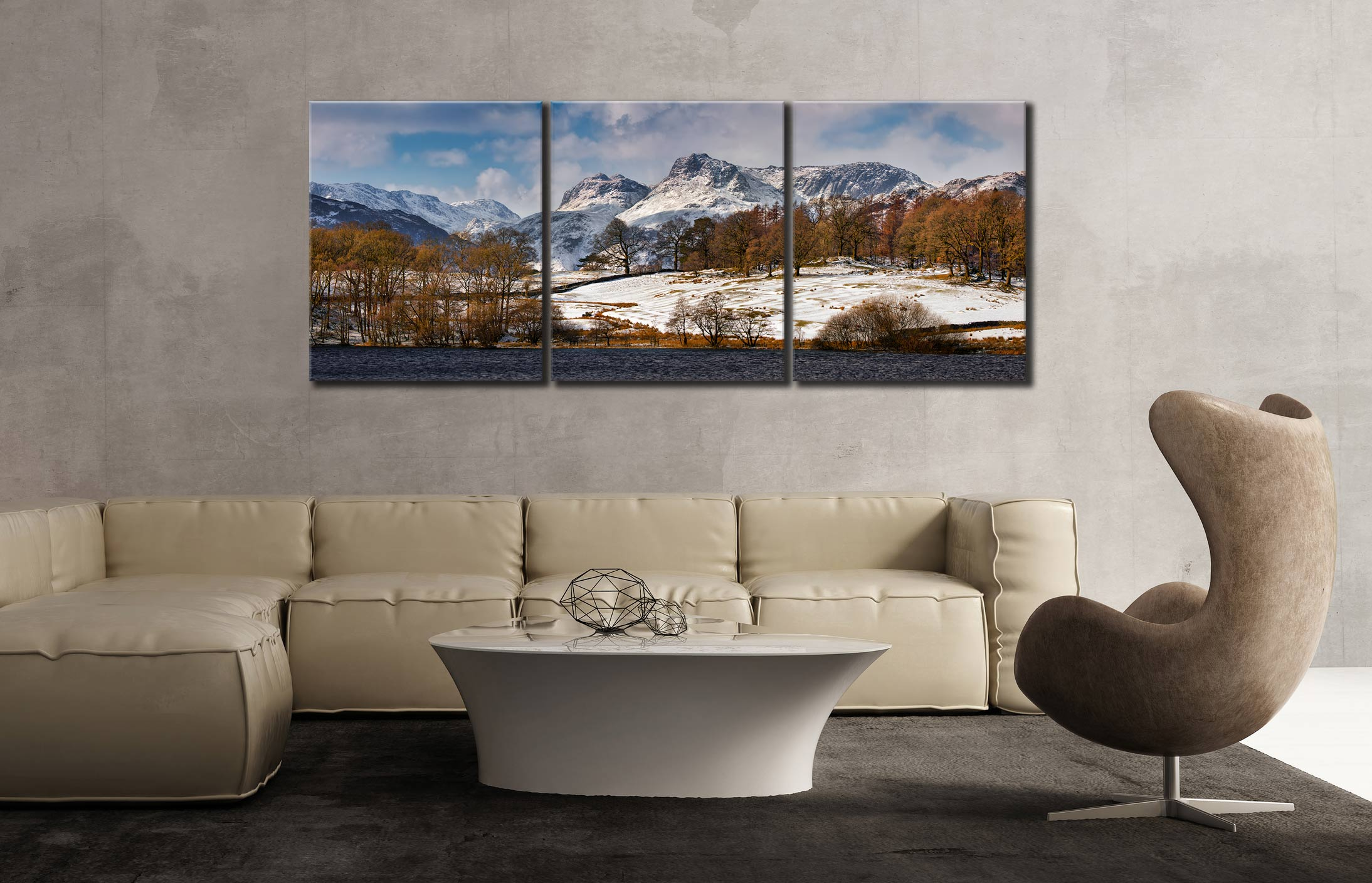 Loughrigg Tarn Winter View  - 3 Panel Canvas on Wall