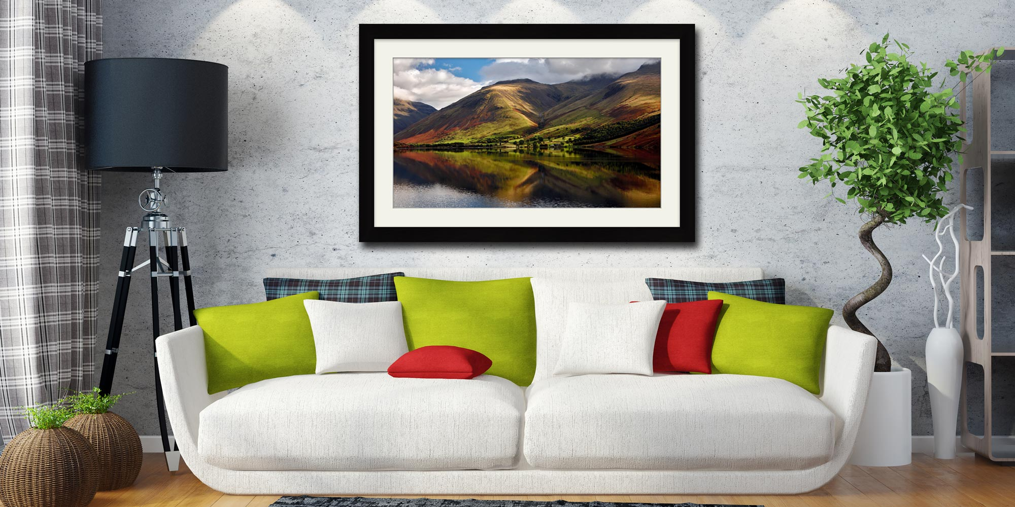 Green Fells of Wasdale - Framed Print with Mount on Wall