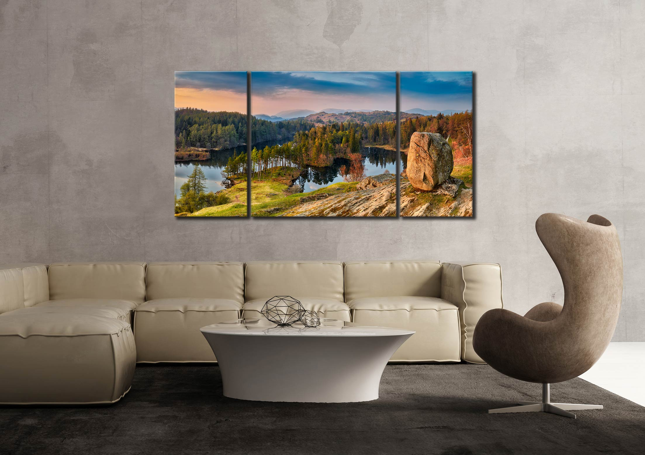 Dusk at Tarn Hows - 3 Panel Wide Centre Canvas on Wall