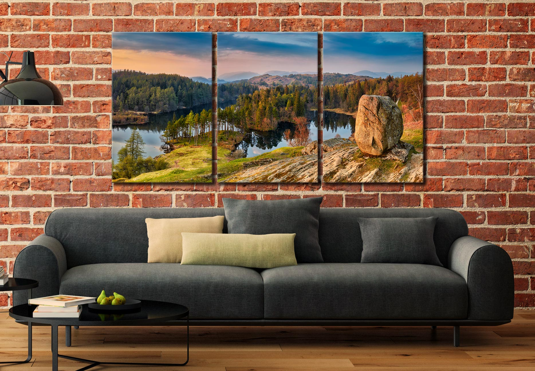 Dusk at Tarn Hows - 3 Panel Canvas on Wall