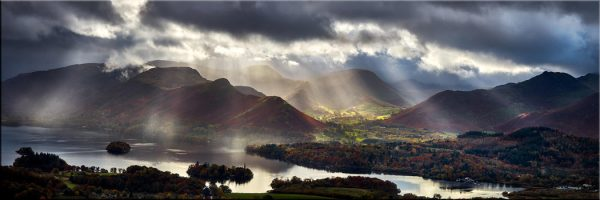 Sunbeams Over the Derwent Fells - Canvas Print