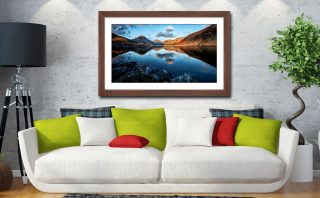 Golden Winter Sunlight Over Wast Water - Framed Print with Mount on Wall