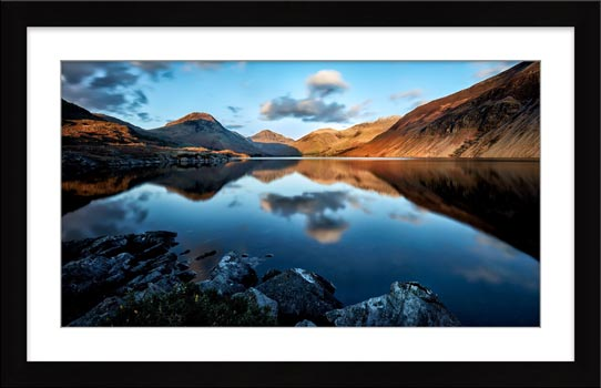 Golden Winter Sunlight Over Wast Water - Framed Print with Mount
