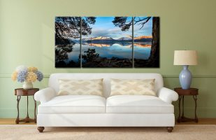 Roots and Mountains Derwent Water - 3 Panel Canvas on Wall