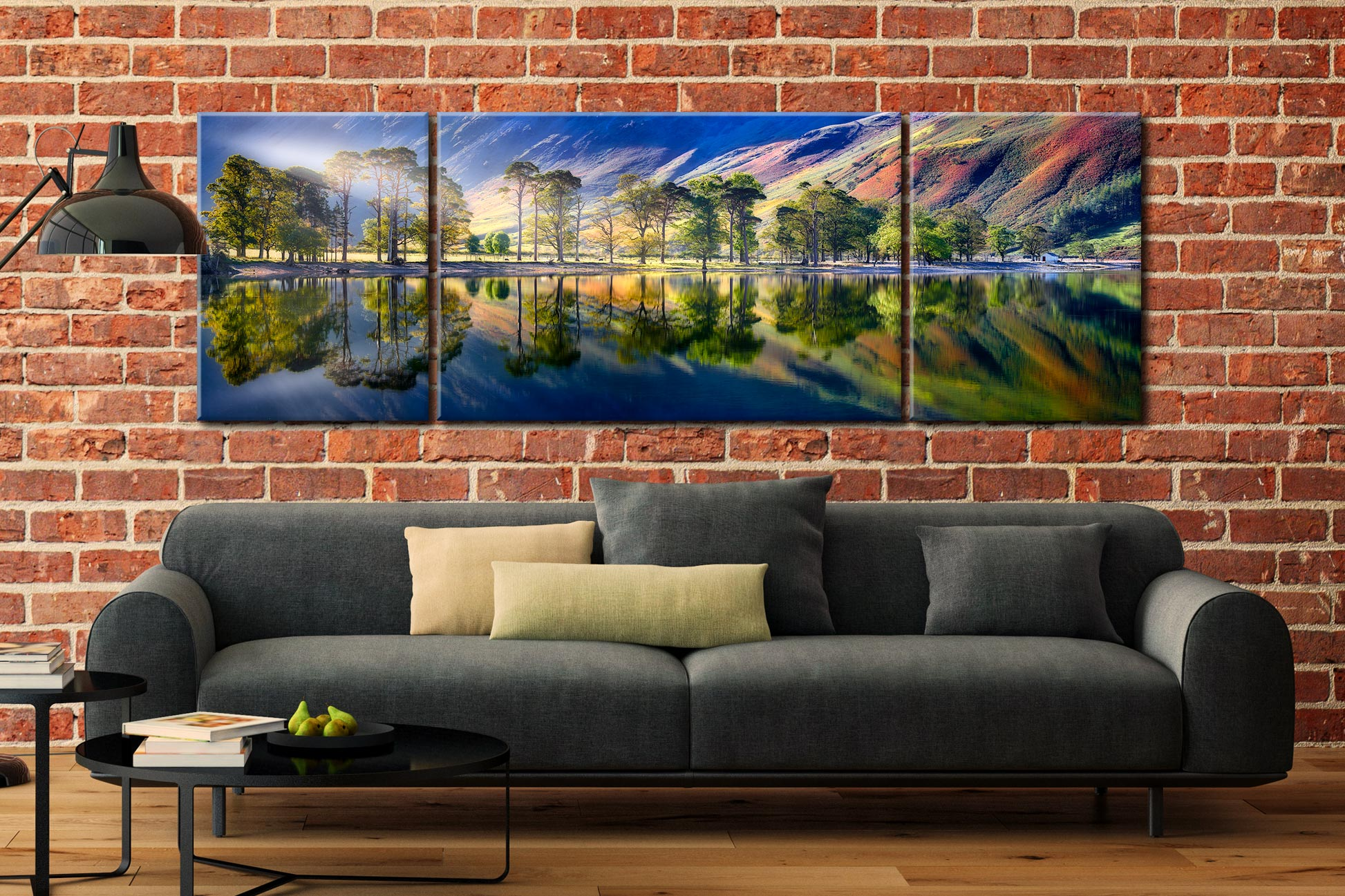 Buttermere Tranquility - 3 Panel Wide Mid Canvas on Wall