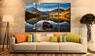 The Buttermere Rock  - A 3 panel wide centre canvas on Wall