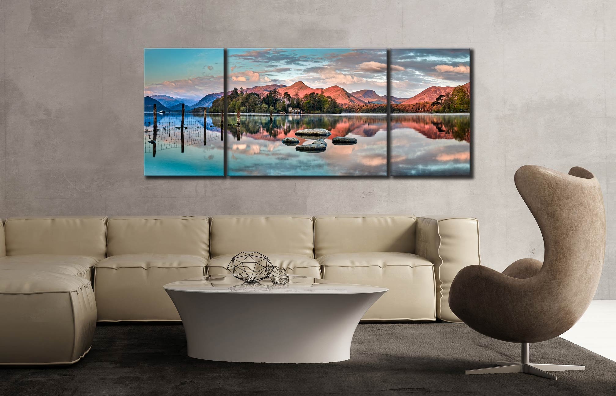 Derwent Isle Calm Dawn  - 3 Panel Wide Mid Canvas on Wall