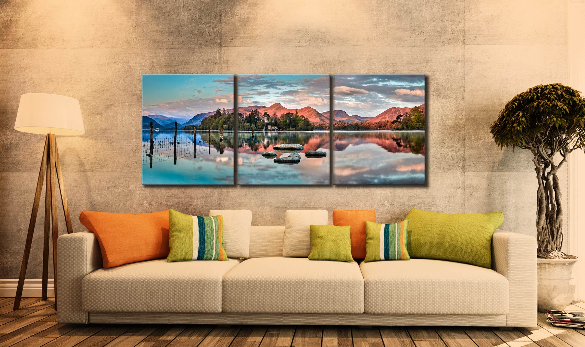 Derwent Isle Calm Dawn  - 3 Panel Canvas on Wall