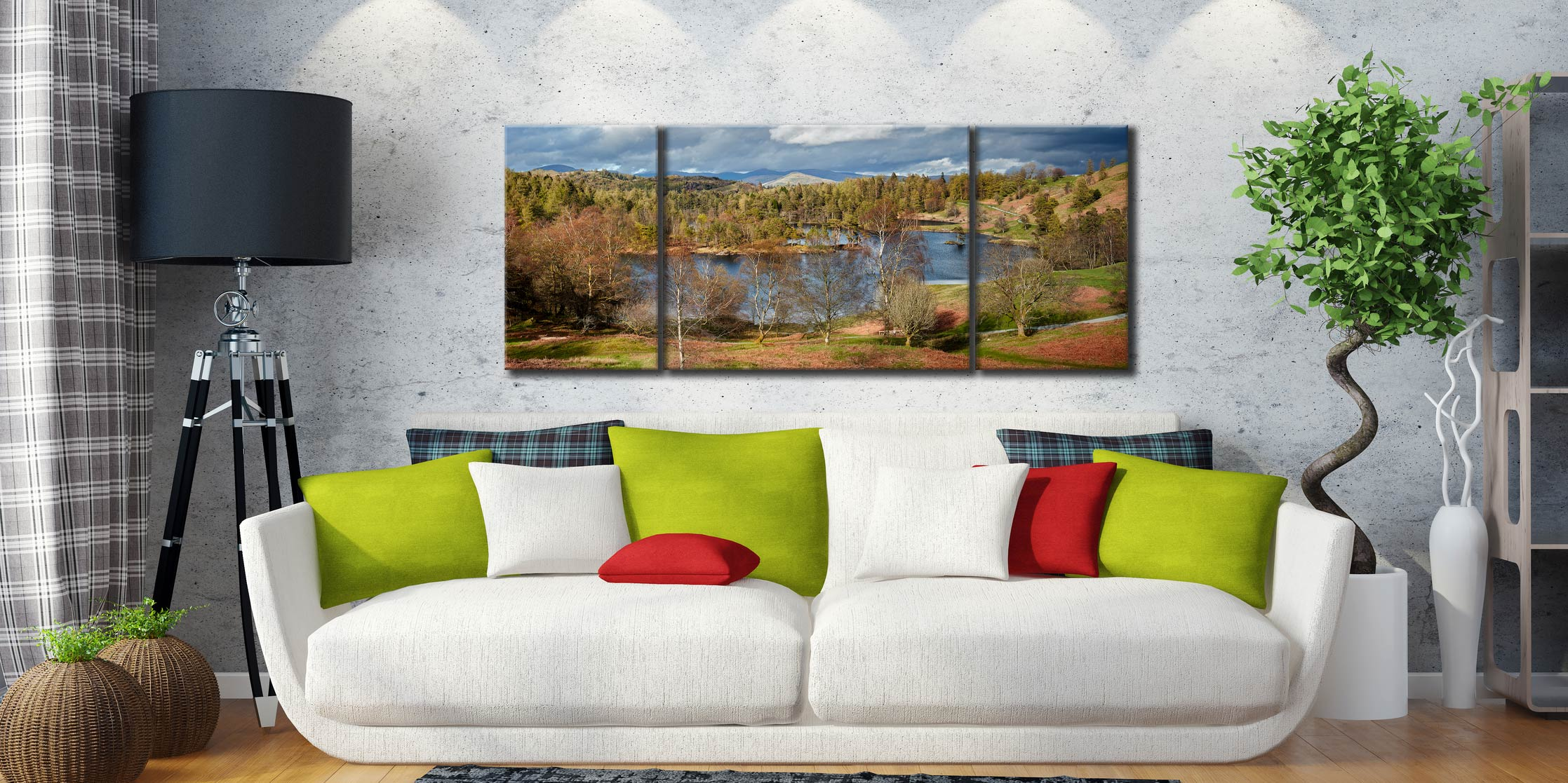 Tarn Hows Spring Sunshine  - 3 Panel Wide Mid Canvas on Wall