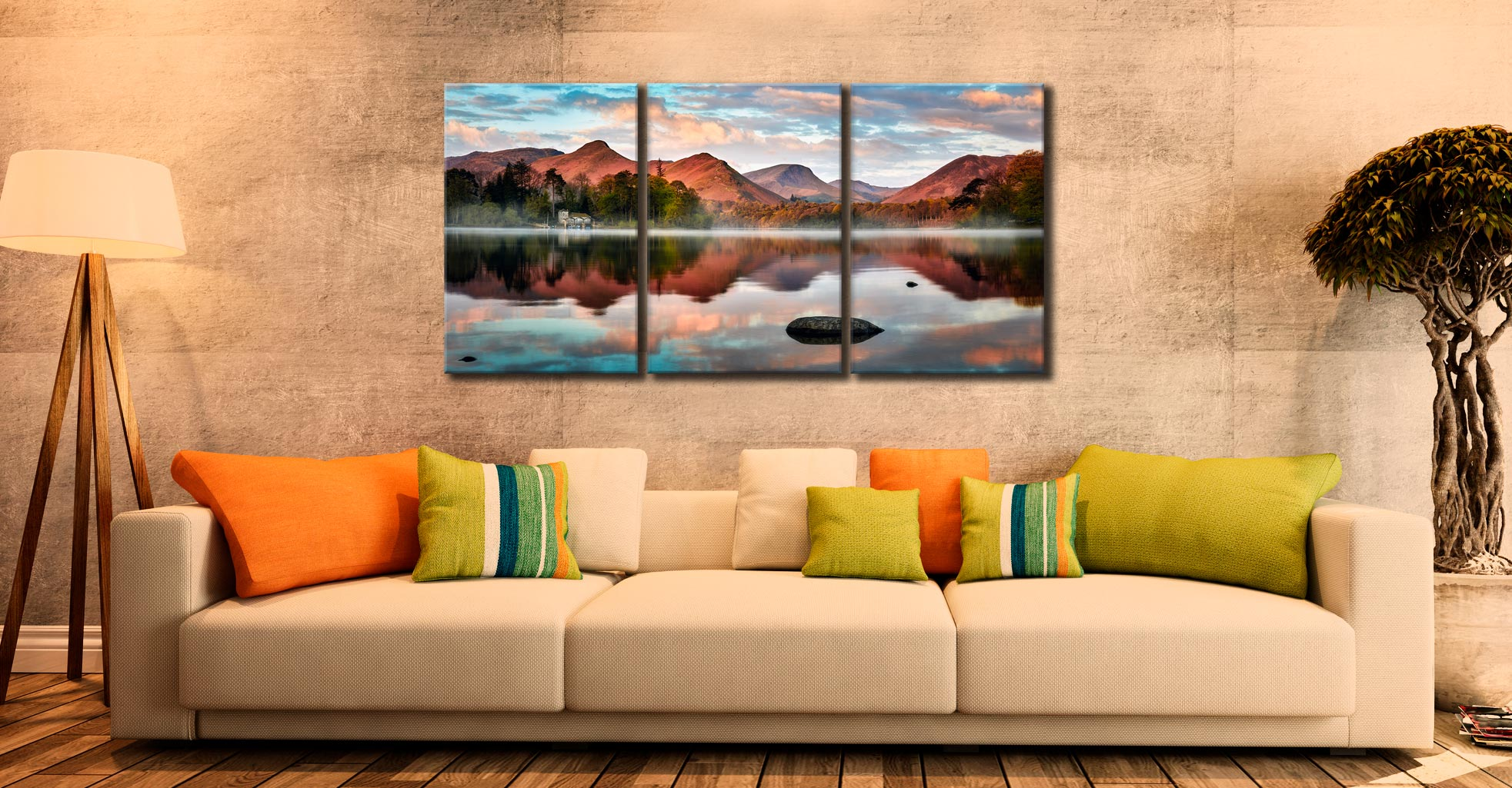 Cat Bells Red Dawn - 3 Panel Canvas on Wall