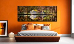 Coniston Boathouse Reflections - 3 Panel Wide Mid Canvas on Wall
