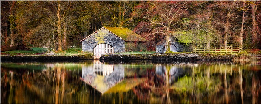 Coniston Boathouse Reflections - Canvas Print