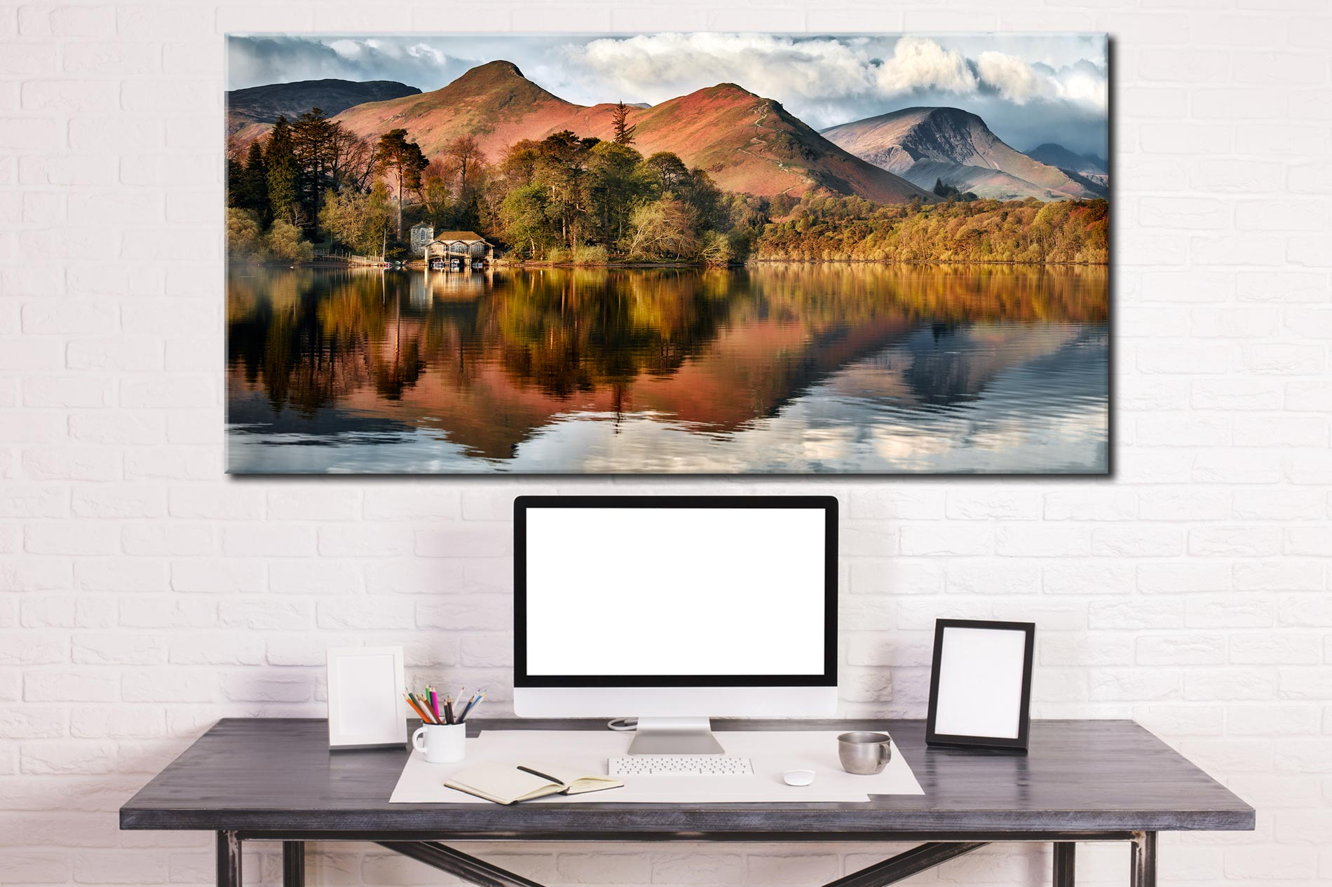 Derwent Boathouse and Cat Bells - Canvas Print on Wall