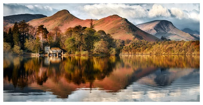 Derwent Boathouse and Cat Bells - Lake District Print