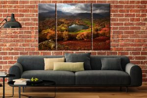 Loughrigg Tarn in Autumn  - A 3 panel wide centre canvas on Wall