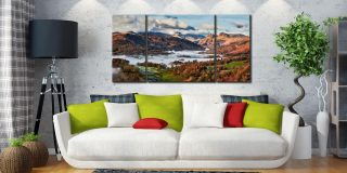 Autumn Morning in Langdale - 3 Panel Wide Centre Canvas on Wall