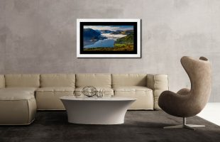 Glenridding Under the Clouds - Framed Print with Mount on Wall