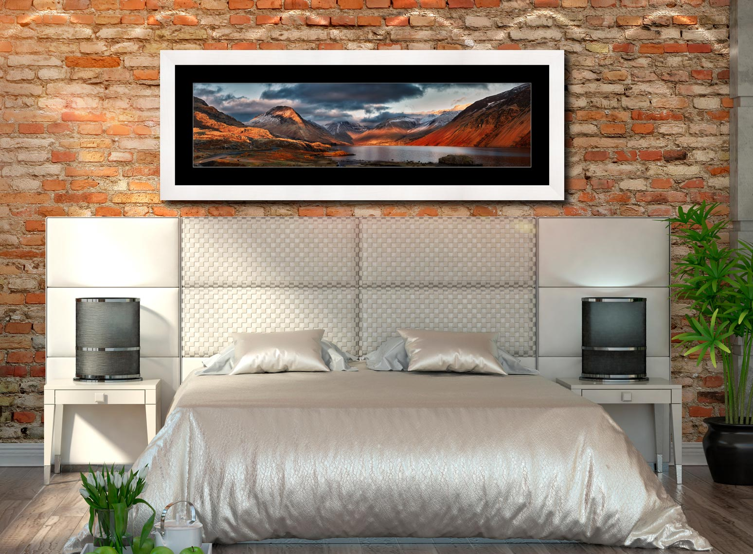 Winter Sun Over Wast Water - Framed Print with Mount on Wall