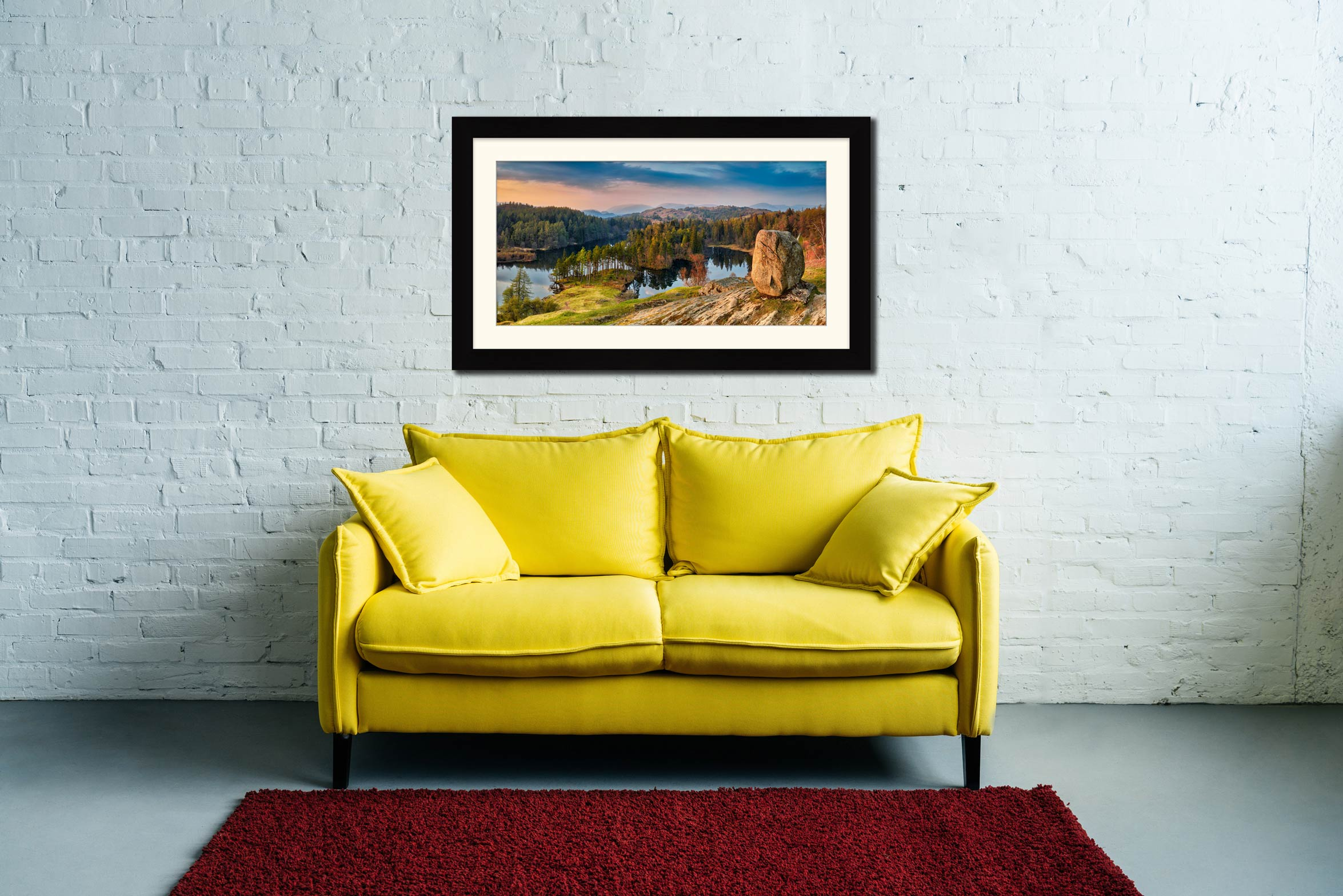 Dusk at Tarn Hows - Framed Print with Mount on Wall