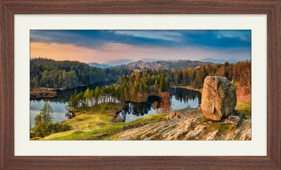 Dusk at Tarn Hows - Framed Print with Mount