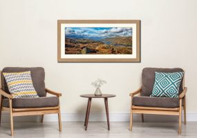 Coniston Water Panorama - Framed Print with Mount on Wall