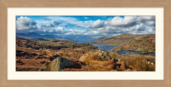 Coniston Water Panorama - Framed Print with Mount