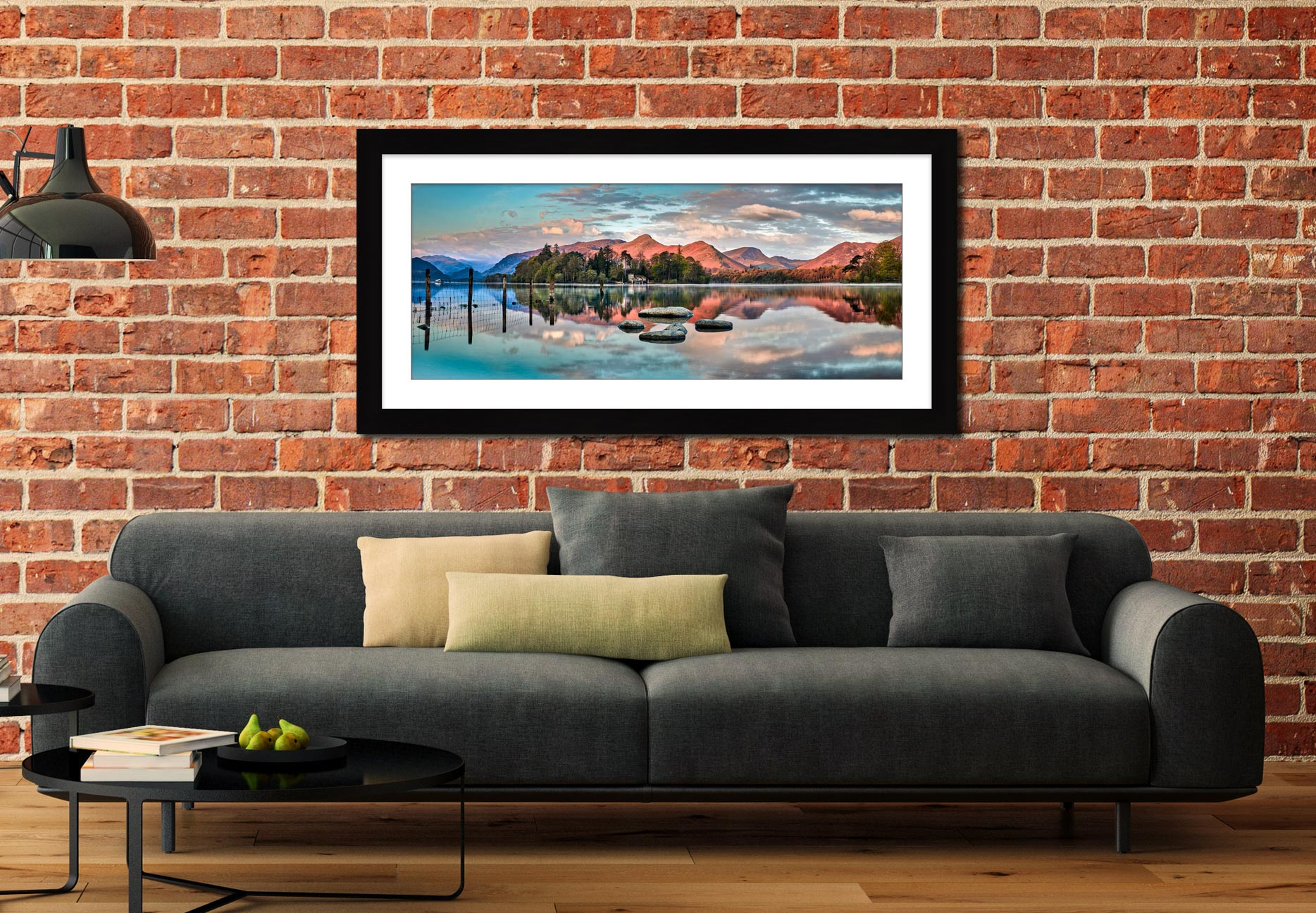 Derwent Isle Calm Dawn - Framed Print with Mount on Wall