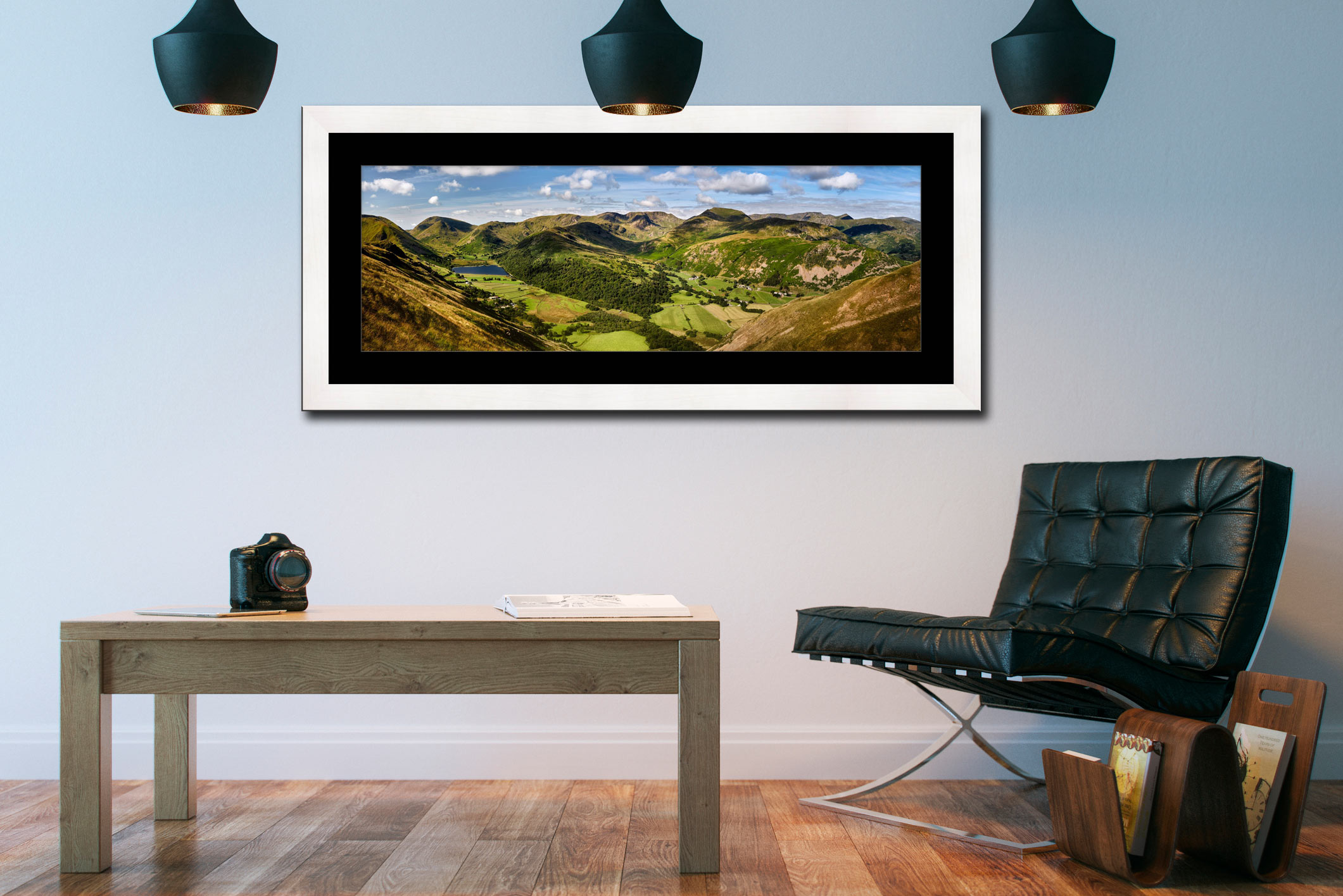 Deepdale and Dovedale Panorama - Framed Print with Mount on Wall