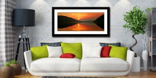 Ullswater Sunrise - Framed Print with Mount on Wall