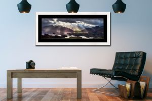 Sunbeams Over the Derwent Fells - Framed Print with Mount on Wall