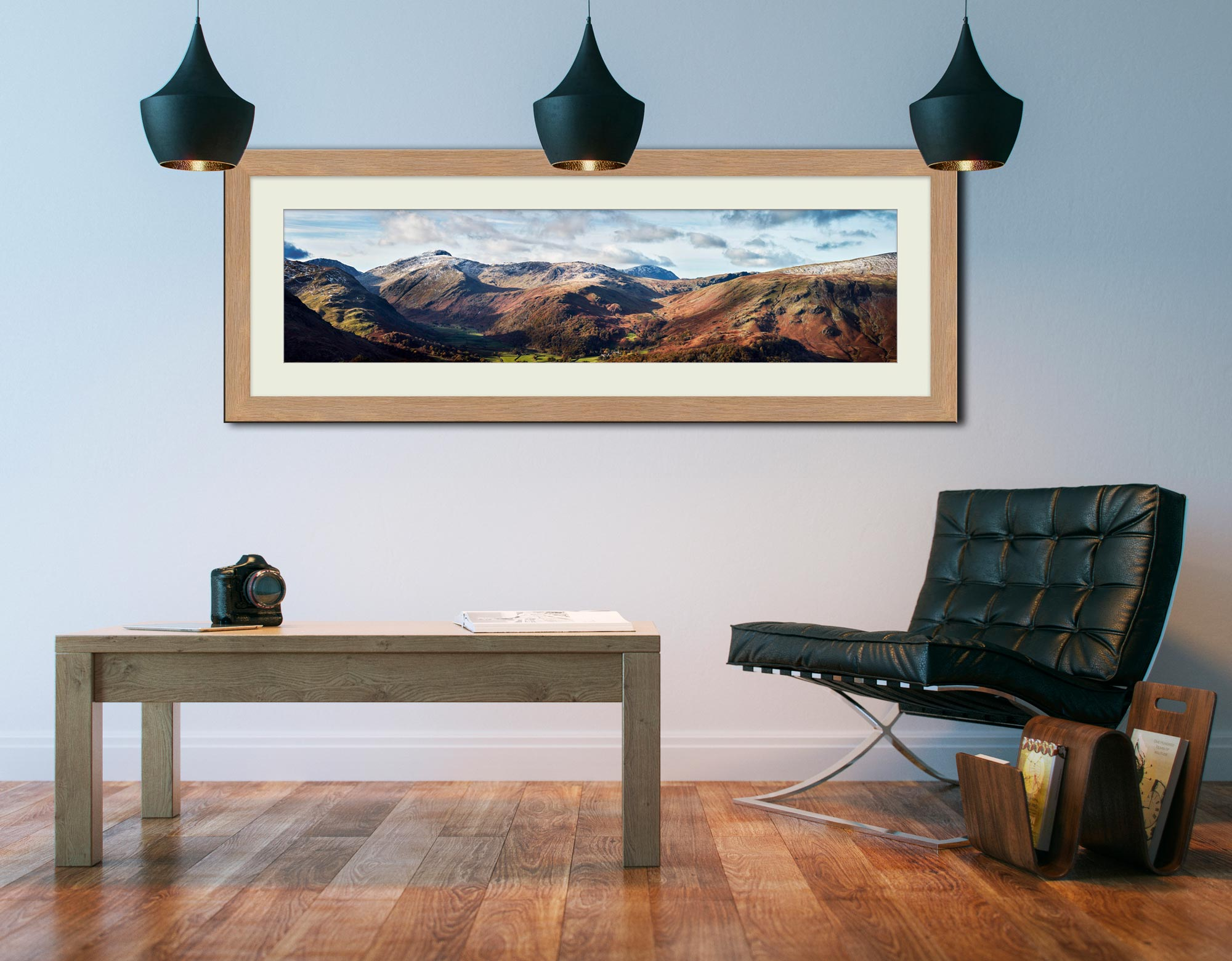 Borrowdale Mountains Panorama - Framed Print with Mount on Wall