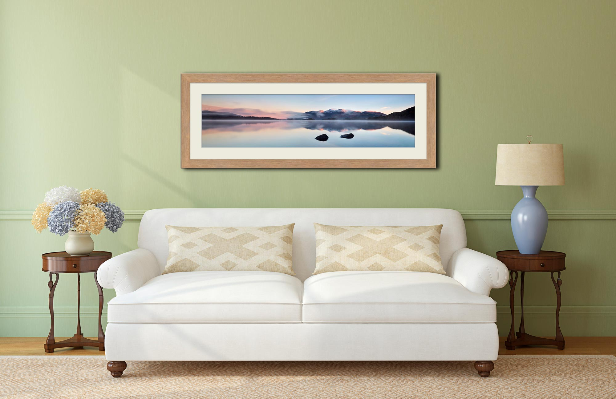 A New Day Dawns at Derwent Water - Framed Print with Mount on Wall