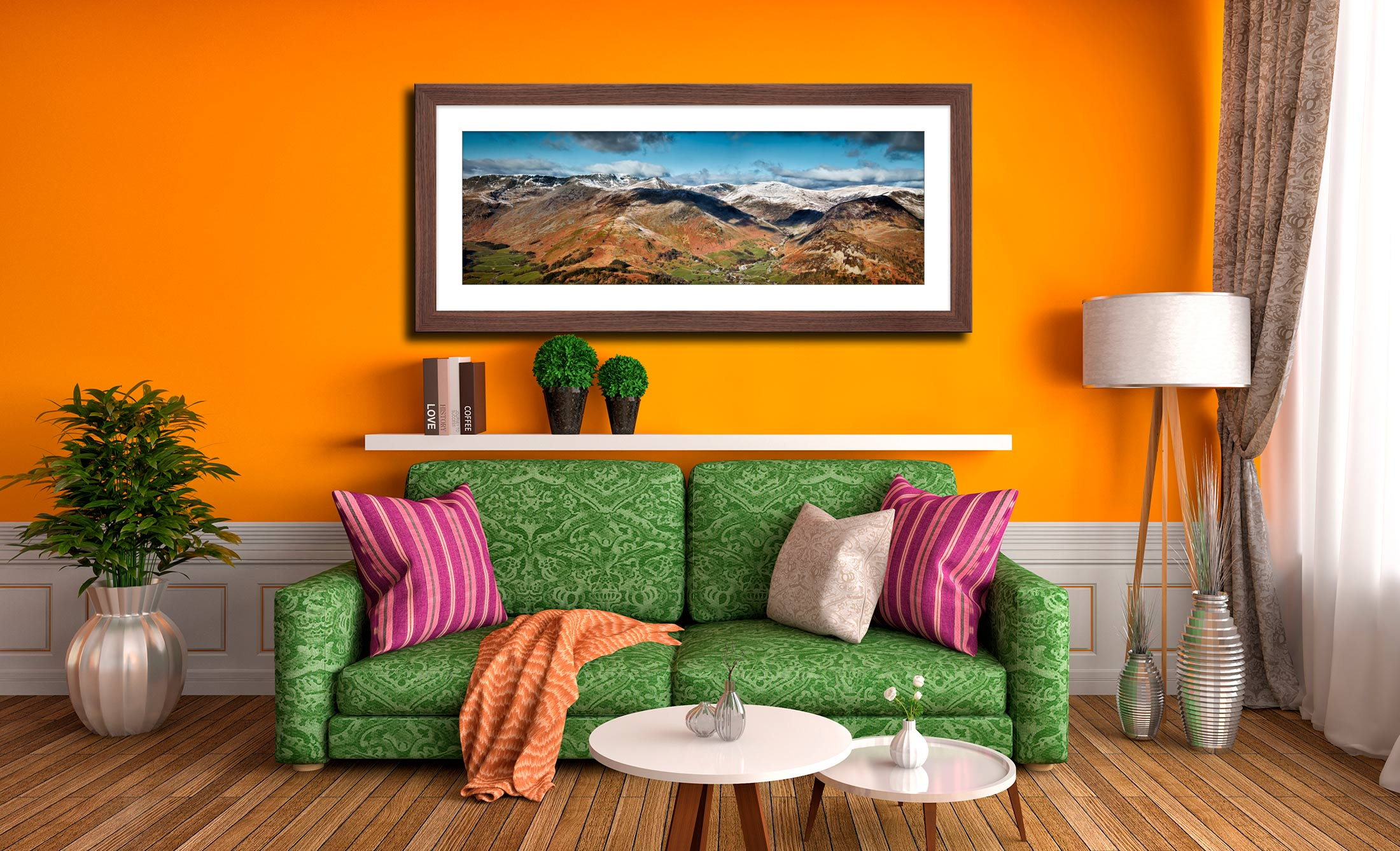 Glenridding Lake District Panorama - Framed Print with Mount on Wall