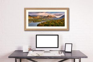 Grasmere Autumn Morning - Framed - Print with Mount on Wall