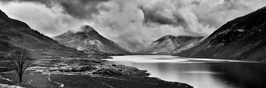Dark Skies Over Wast Water Black White - Print on Aluminium Backing