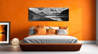 Dark Skies Over Wast Water Black White - Print on Aluminium Backing on Wall